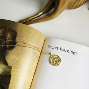 Paris Pendant Necklace 18K Gold Coin Medallion Necklace 925 Sterling Silver