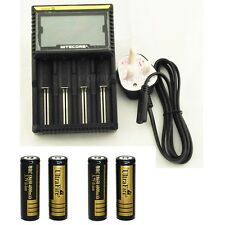 NiteCore D4 LCD Smart DigiCharger  + 4 x 4000 mah Protected 3.7v 18650 Battery