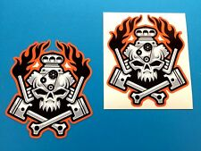 FLAMES AND PISTON SKULL Motorcycle Helmet Stickers Decals 2 off 95mm high
