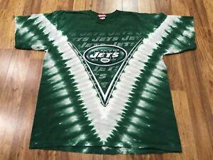 XL - Vtg 90s 00s NFL New York Jets Football Single Stitched Tie Dye T-shirt USA