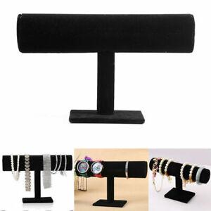 Velvet T-Bar Jewelry Rack Bracelet Necklace Stand Organizer Holder Display Gift