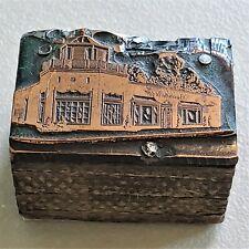 Vintage Copper On Wood Letterpress Print Block Building Beardsleys Store Pb47