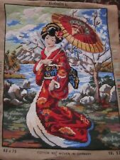"""Large UNFRAMED Handcrafted 29"""" x 23"""" NEEDLEPOINT/PETITPOINT GEISHA GIRL PICTURE"""
