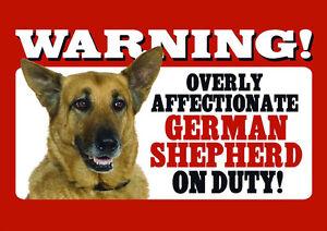 BEWARE OF THE DOG SIGN - GERMAN SHEPHERD ON DUTY - ALSATIAN SIGN LAMINATED