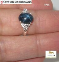 3.84 ct 6 Ray Star Sapphire & White Topaz Silver Ring