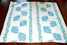 VINTAGE 1950s COLORFUL VINTAGE TABLECLOTH FRUITS CHERRIES & APPLES BLUE GREEN
