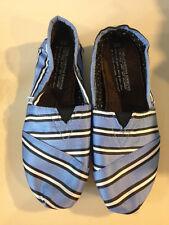 Authentic TOMS+ Tabitha Simmons Blue Cricket Stripe Classics, Size 5 pristine