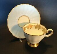 Grosvenor Pedestal Teacup And Saucer - Mint Blue Green - Gold Flowers - England