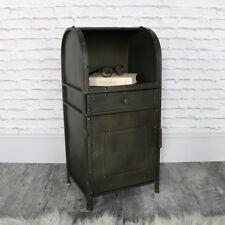 Rustic metal industrial bedside storage cabinet drawer shelf vintage bedroom