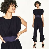 Zara Jumpsuit Size Medium Navy Sash Belt Frill Leg Sleeveless BNWT