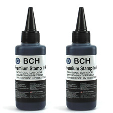 BCH Premium Stamp Ink Refill for Stamps or Stamp Pads 2 X 2.5 oz BLACK