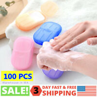 100 Sheets Paper Soap Portable Travel Hand Washing Soluble 5 Mini Boxes-From USA