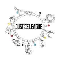 DC Comics Justice League Superhero Assorted Themed Logo Charms Metal Bracelet