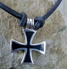 gr.eisernes Kreuz  Lederriemen Templar Mittelalter Kreuzanhänger 925Silber Onyx