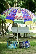 Indian Elephant Patchwork Outdoor Garden Umbrella Sun Shade Parasol Decor 85""