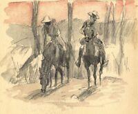 Men on Horseback at Sunset – Original late 19th-century graphite drawing