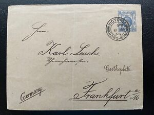 Hong Kong 1909 KE 10c GPO EN18 Postal Stationery Envelope Used to Germany