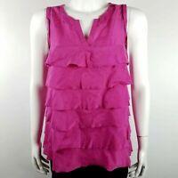 Ann Taylor LOFT Women's Sleeveless Blouse Size Small Layered Ruffle Pink