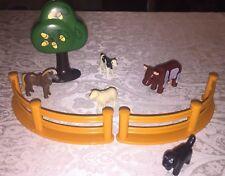 Playmobil Farm Animal Lot Horse, Lamb, Cows, Acorn Tree, Black Dog + Fences!