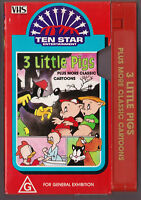 TEN STAR ENTERTAINMENT Three Little Pigs + classic cartoons  VHS VINTAGE OLD