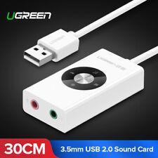 Ugreen Externe USB zu Kopfhörer 3.5mm Soundkarte Stereo Audio Adapter für PC PS4