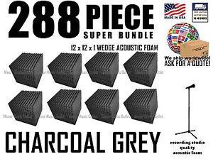 288 PC  SUPER-BUNDLE Acoustic Wedge FOAM  Soundproofing 12x12x1,  grey