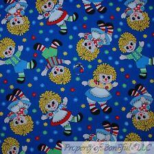 BonEful Fabric Cotton Quilt BLUE Raggedy Ann Andy Doll  Girl Flower Retro SCRAP