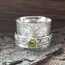 Peridot Spinner Ring Solid 925 Sterling Silver Handmade Women Ring Size Q Ms1690