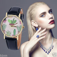 Women Quartz Watch Analog Cactus Partten Faux Leather Band Casual Wrist Watches
