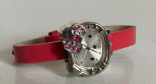 NEW! SANRIO HELLO KITTY PINK SILVER CRYSTAL BLING LEATHER STRAP WATCH HK1884 $30