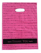50 Pc 9x12in Thank You Low-Density Plastic Shopping Bag Set W/ Handles Hot Pink