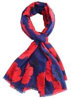 Blue Poppy Scarf Floral Scarfs Flower Scarves Scarfs Ladies Red Poppies Navy New