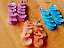 Pretty Drop Earrings With Mother of Pearl Discs en 3 Colours £ 2.95 each Neuf avec étiquette