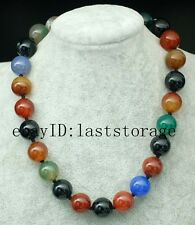 """wholesale  multicolor agate  round 16mm necklace 18"""" nature beads amazing"""