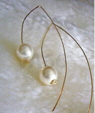 Bridal 14K Gold Open Hoop Large Hook Pearl Earrings Curve Pearl Anting