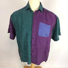 Mens Vintage Color Block 80s Silk Dance Party Zack Morris Hip Hop Rave Shirt L