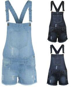 Kids Girls Dungarees Monika Jumpsuits Stretch Denim Jeans Short Dress Shortall