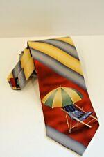"Pelican Bay Mens 55"" Yellow Blue Beach Chair Beach Umbrella Silk Neck Tie"