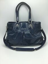 Coach Ashley15516 Blue Patent Leather Carryall Satchel Purse Shoulder Bag EUC