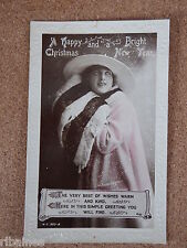 R&L Postcard: Happy Christmas and New Year, Glamour Lady, Rotary, Real Photo