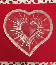Glass Crystal Heart Dish Bowl Nuts Candy Jewelry Trinkets 6� Love Valentines