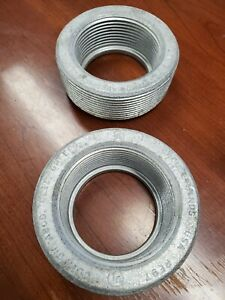 """RE97 CROUSE HINDS REDUCING BUSHING 3-1/2"""" TO 2-1/2"""" FOR RIGID CONDUIT LOT OF 2"""