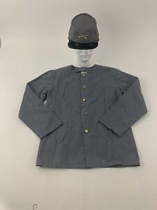 Civil War Reenactment Youth Cap & Shirt Size Medium Gray Confederate Uniform