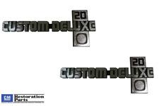 """1981-1987 Chevrolet Chevy Pickup Truck """"Custom Deluxe 20"""" Fender Emblem Pair NEW"""