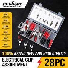 28 pc Alligator Clip Test Lead Assortment Electrical Batery Clamp Connector Kit