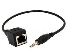 "RJ45 Female Ethernet LAN Network cable to DC 3.5mm (1/8"") Male Jack Audio Cable"