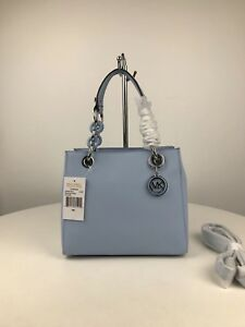 Auth Michael Kors Cynthia Small Satchel Saffiano Leather bag Light Sky