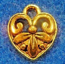 100Pcs. WHOLESALE Tibetan Antique Gold Scroll  HEART Charms Earring Drops Q0602