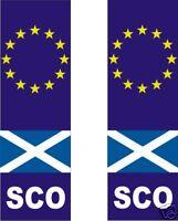 SCO Scotland Saltire EURO Sticker X 2 vinyl decal Numberplate