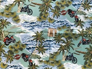"""Fabric BTY - Harley Davidson Motorcycles in the Pacific - 43"""" wide"""